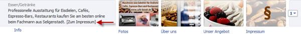 Facebook Infobox beschriften
