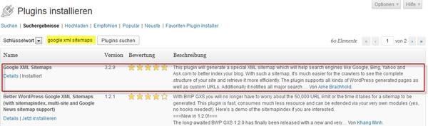sitemap-plugin-installieren