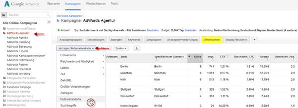 Google AdWords Nutzerstandorte nach Dimensionen