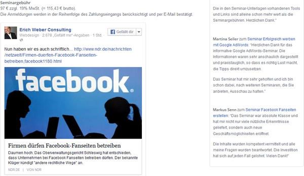 facebook-beitrag-auf-der-website